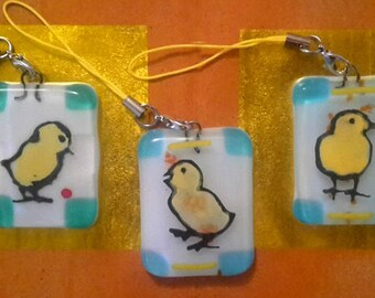 3 Kiln-fired glass pendants with painted chicks  that decorate your Eastertree or branche.