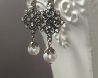 Downton Abbey Style Jewelry - Edwardian Jewelry - Edwardian Earrings - Victorian Pearl Earrings - Titanic Jewelry - 18th Century Jewelry