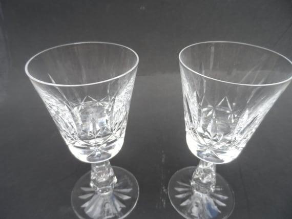 Vintage Waterford crystal - pair of Irish Waterford crystal wine glasses - hand cut Irish lead glass crystal dinnerware stemware fine & Vintage Waterford crystal pair of Irish Waterford crystal