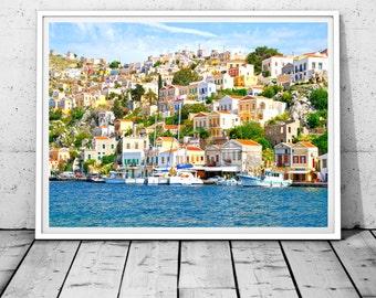 Greece print, Symi print, Greece photography, Greek islands art, Greek prints, Greek printable art, Travel photography, Digital Download