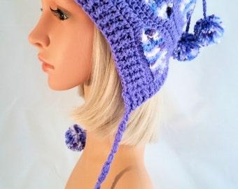 Crochet Winter Hat for Woman, model Zandra Multicolor, earflap, pompom, handmade, made in Italy