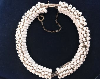 Vintage MIRIAM HASKELL white milk glass beaded BRACELET   Signed Vintage Collectible Costume Jewelry