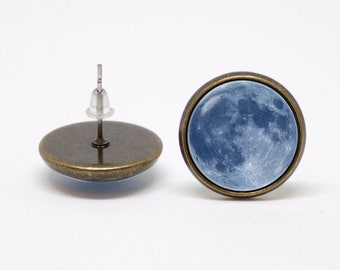 Earrings moon Blue moon Gift for mother Full moon earrings Moon jewelry Moon jewellery Lunar earrings Space earrings Cosmos Everyday Simple