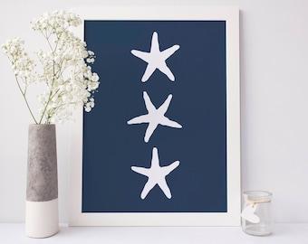 Navy Blue Starfish, Beach Nursery, Ocean Wall Art Navy Starfish Art Print Poster, Navy Blue Art Print, Starfish Artwork, Nursery Printable