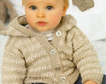 baby / childs hooded jacket knitting pattern pdf DK & nub baby cardigan with hood or collar Vintage 16-26inch DK light worsted 8ply Download
