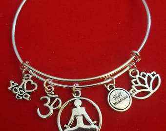 Silver Yoga Themed Charm Bracelet