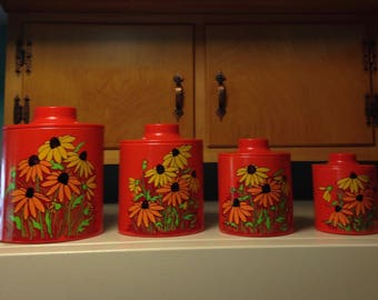 Ransberg 1970s kitchen four canister set beautiful black eyed susan pattern