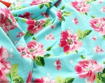 English Rose Garden Cotton Fabric Blue per Yard 09 - 150