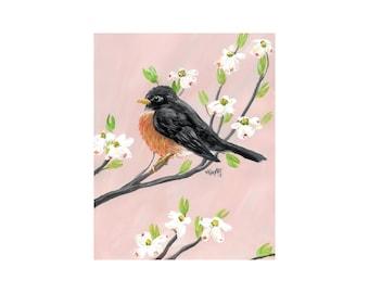 Robin and Dogwood Print of Original Acrylic Painting