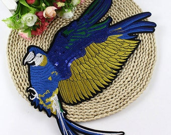 BUY 3 GET 1 FREE Large Flying Bird Sequined Applique Patch Applique Iron On Patch  Sequins Bird Patch Supplies for jacket decoration   P2048