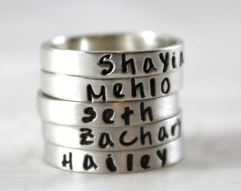 Mother's Day gift, Stacking rings, solid sterling silver, name ring, custom hand stamped, mother gift, pure silver, personalized ring