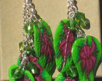 Polymer Clay Crocus Leaf Earrings with Green Beads or Fairy