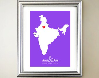 India Custom Vertical Heart Map Art - Personalized names, wedding gift, engagement, anniversary date