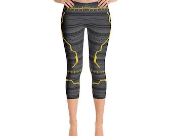 Wakanda Forever Womens Leggings Vibranium Suit Style Capri Pants Yoga Pants Leggings Activewear All-Over Capri Leggings