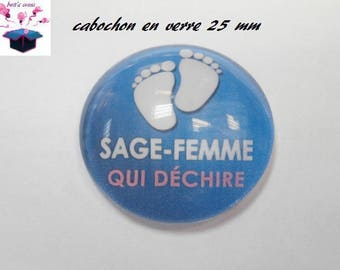 1 cabochon clear 25 mm round theme wise woman