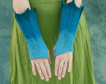 Dragon Cuffs - Dragon Mittens - Fingerless Mittens - Bat Cuffs - Merperson Gauntlets  - Hand Felted Wool Mittens - Blue Gauntlets - Gloves