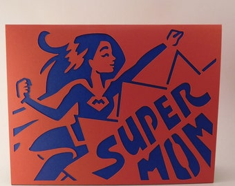 Super Mom die-cut Mother's day card