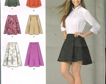Size 6-14 Misses' Skirt Sewing Pattern -  Flared Mini Skirt Sewing Pattern - Knee Length Panel Skirt Pattern - SImplicity 1282