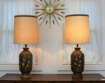 Mid Century Modern vintage Ceramic table lamps with shades