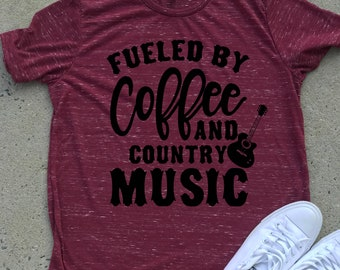 Coffee And Country Music tee Shirts Premium super-soft Graphic Tee, Graphic Shirt. Workout Shirt. Women's Tees/T-shirts/ Active wear/