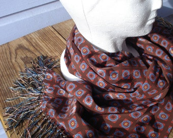 Vintage 1960s Scarf Aviator Style 60s Ascot Tile Print