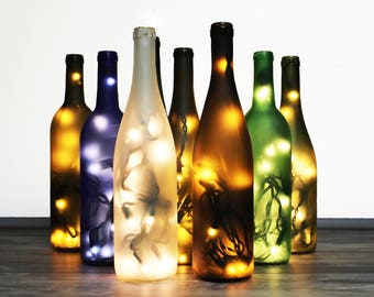 Frosted Wine Bottle Lamp - Fathers Day Gift, Gift for Dad, Wine Gift, Gift for Her, Wine Bottle Decor, Bottle Light, Wine Decor, Wine Gift