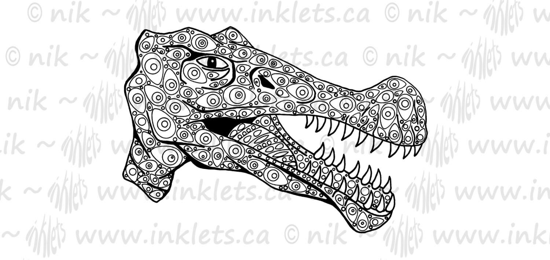 Dinosaurio para colorear página de bricolaje para imprimir