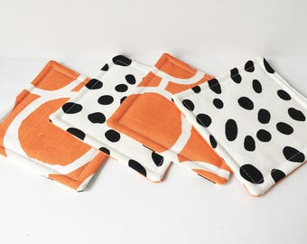 Orange Coasters Black Spotted Fabric Reversible Coasters Fabric Coasters Cotton Set of 4 Modern Home Decor