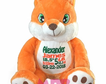 Fox Personalized Stuffed Animal, Embroidered Stuffed Animal, Personalized Animal, Birth Announcement Stuffed Animal, Personalized Fox