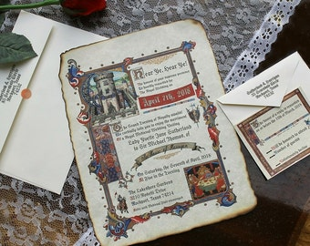 Medieval Renaissance Royal Aged Scroll Wedding Invitations Response Card RSVP Qty 50 king queen Castle fair sweet 15 16 fairy tale fairytale