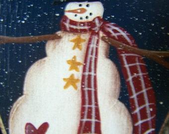 Primitive Folk Art Snowman Pin Hand Painted Decorative Wood Cut Out, Decoration