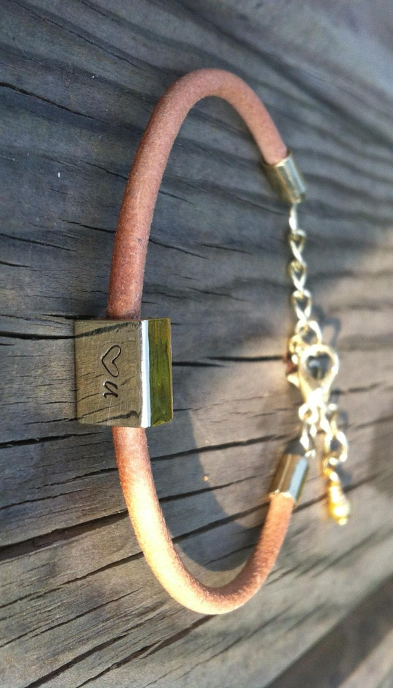 BRACELET/LEATHER/NATURAL/sun-toasted/leather bracelet/love you/brass/golden/hand stamped