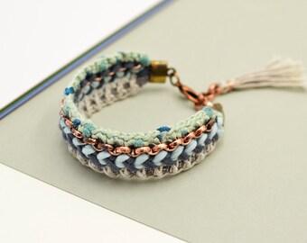 Bohemian Bracelet, Crochet Bracelet, Fabric Bracelet, Ibiza Style, Aztec Bracelet, Hippie Jewelry