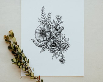 Floral Bouquet Botanical Floral Pen and Ink Hand Drawn Illustration Print