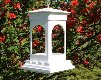Outdoor vinyl bird feeder tray feeder PVC decorative low maintenance Bridgeport EZ Clean hanging Bird feeder -Arches style- Made in the USA