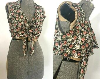 Ruffled Sleeveless Crop Top 1990s Judy Knapp Summer Tie Front Blouse
