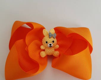 Orange Bunny Hair Clip