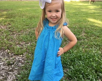 Blue with White Dots Dress for Toddler Girls