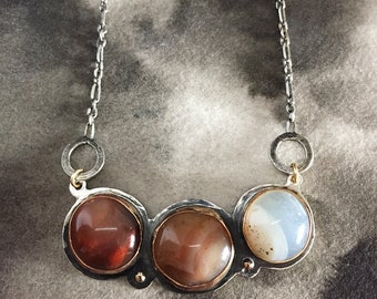 Agate trio, earth tones, mixed metal necklace, statement art jewelry for her, sterling silver and gold, rustic minimalism, meaningful design