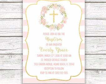 Baptism Invitation Girl, Christening Invitation Girl, First Communion Invite, Pink and Gold Baptism Invitation, Floral Printable Invite