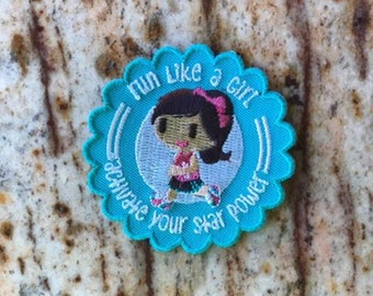 Run Like a GIRL Running Race 5k Fun Patch Embroidered Southern Juliette