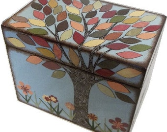 Recipe Box Decoupaged Fall - Autumn Tree Wedding Card Box, Handcrafted  Kitchen Storage, Organization Holds 4x6 Recipe Cards  MADE To ORDER
