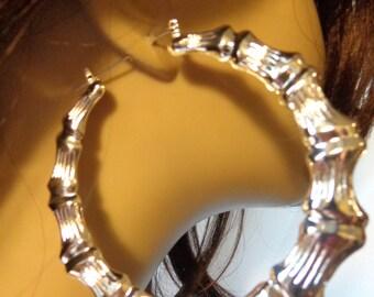 Retro BAMBOO HOOP earrings 3.5 inch Silver Tone Bamboo Hoop Vintage Hip Hop Hoop Earrings