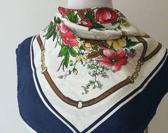 Vintage silk scarf Flowers