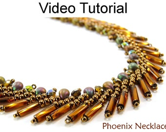 Necklace Tutorial St. Petersburg Stitch Video Tutorial Pattern Beaded Beading Jewelry Making Stitch Instructions Direction Beads #9707