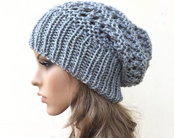 Hand knit hat - Oversized Chunky Wool Hat, slouchy hat in Grey