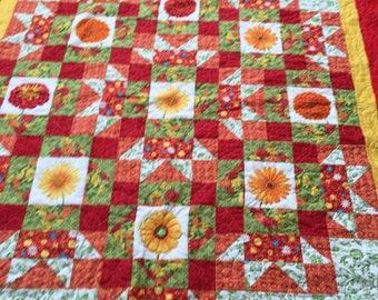 """Lap quilt  floral 60"""" x 73"""""""