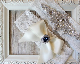 GARTER SET - CUSTOMIZABLE - Vintage Wedding Garter Set with Rhinestones on Comfortable Lace, Bridal Garter Set, Crystal Garter Set, Prom
