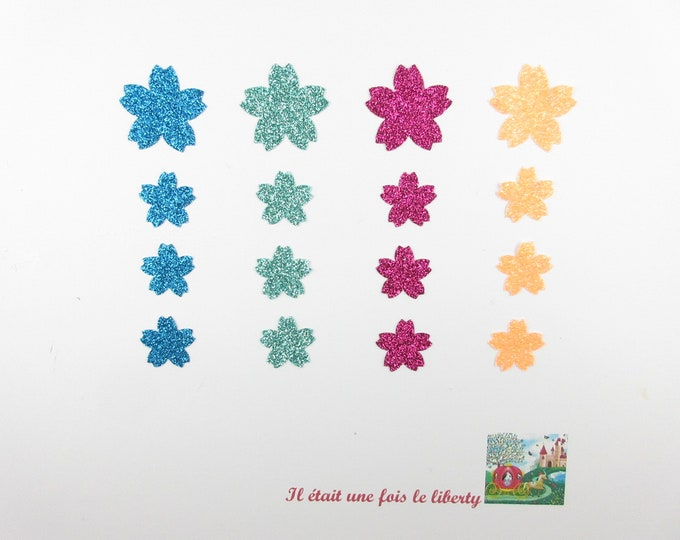 Applied fusing 16 cherry blossom blue fabric glitter (choice of colors) patch iron on patch iron-on glitter flowers