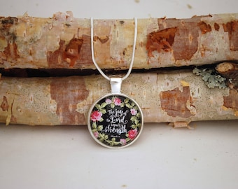 The Joy of the Lord is Your Strength, Silver small pendant necklace